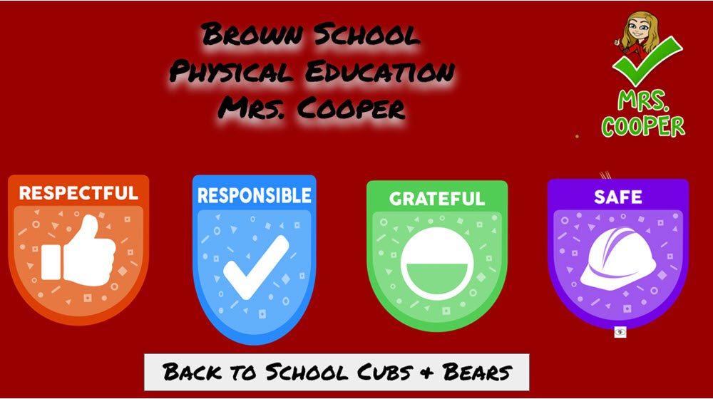back to school cub bears physical education cooper